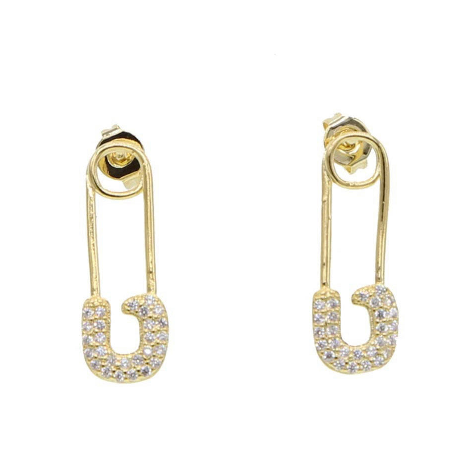 Golden Safety Pin Studs