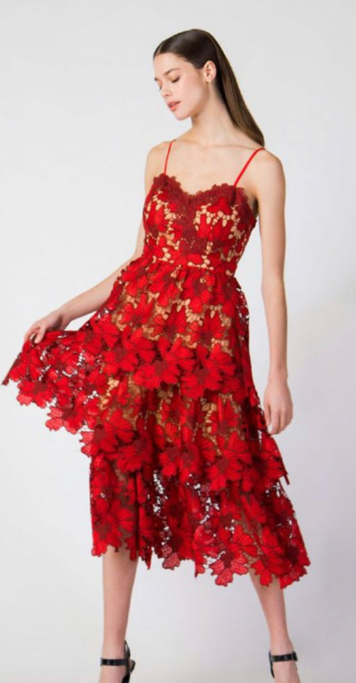 Scarlet Red Lace Tiereed Midi Dress