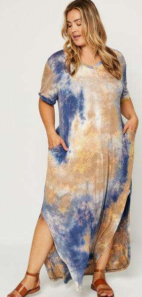 Loose fit Maxi T-Shirt Tye Dye Dress (Plus Sizes Available)