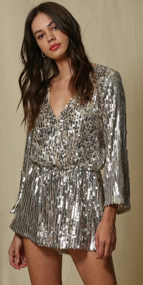 Long Sleeved Woven Sequin Romper