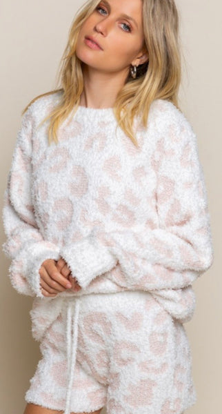 White/Pink Leopard Knit Soft Sweatshirt