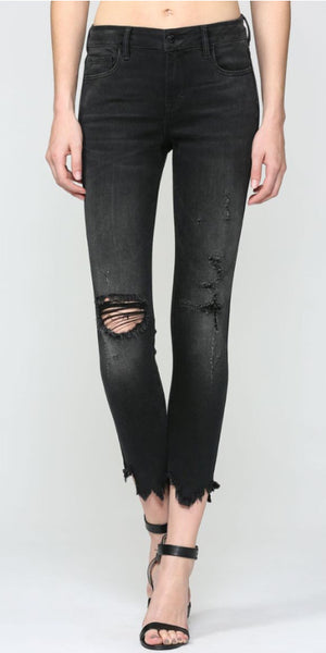 "Hidden Black Mid Rise 28"" Skinny Jean with Uneven Hem"