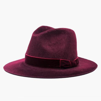 Carter Felt Hat with Ribbon (Red)