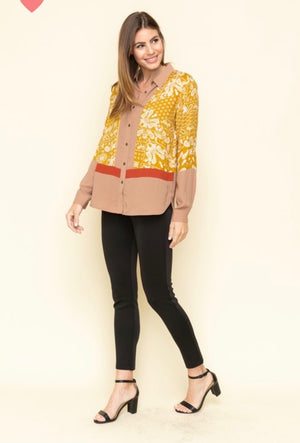 MY Mustard, Latte, Rust Scarf Print Block Detail Shirt