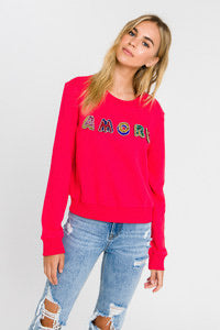 Lettering Multi Beads Sweatshirt