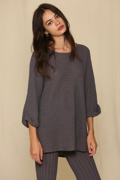 3/4 Sleeve Round Neck Knit Tunic Sweater Top (Set)