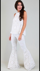 French Quarter Crocheted High Neck White Crocheted Top (matching pants and blazer available)