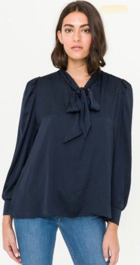 MY Navy Bow Tie Washed Satin Shirred Sleeve Blouse