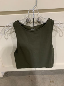 High Quality Seamless Ribbed Sleeveless Crew Neck Crop Top
