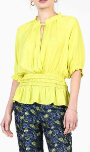 Neon Yellow 3Q Sleeve Top with Smocked Detail on Waist