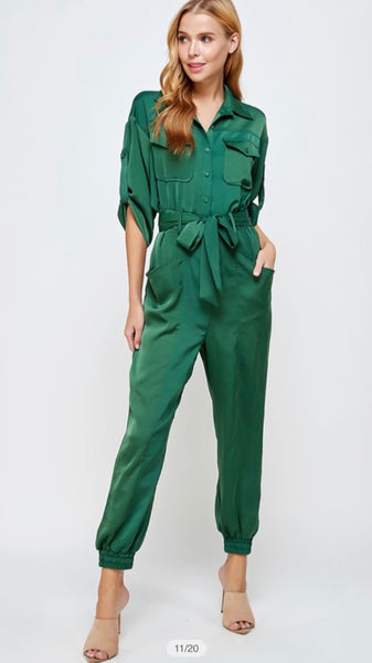 Moss Gree Satin Button Up Jumpsuit