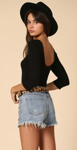 Black Scoop Neck and Lower Back Top
