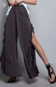 POL Charcoal Knit Wide Leg Pants with Ruffle