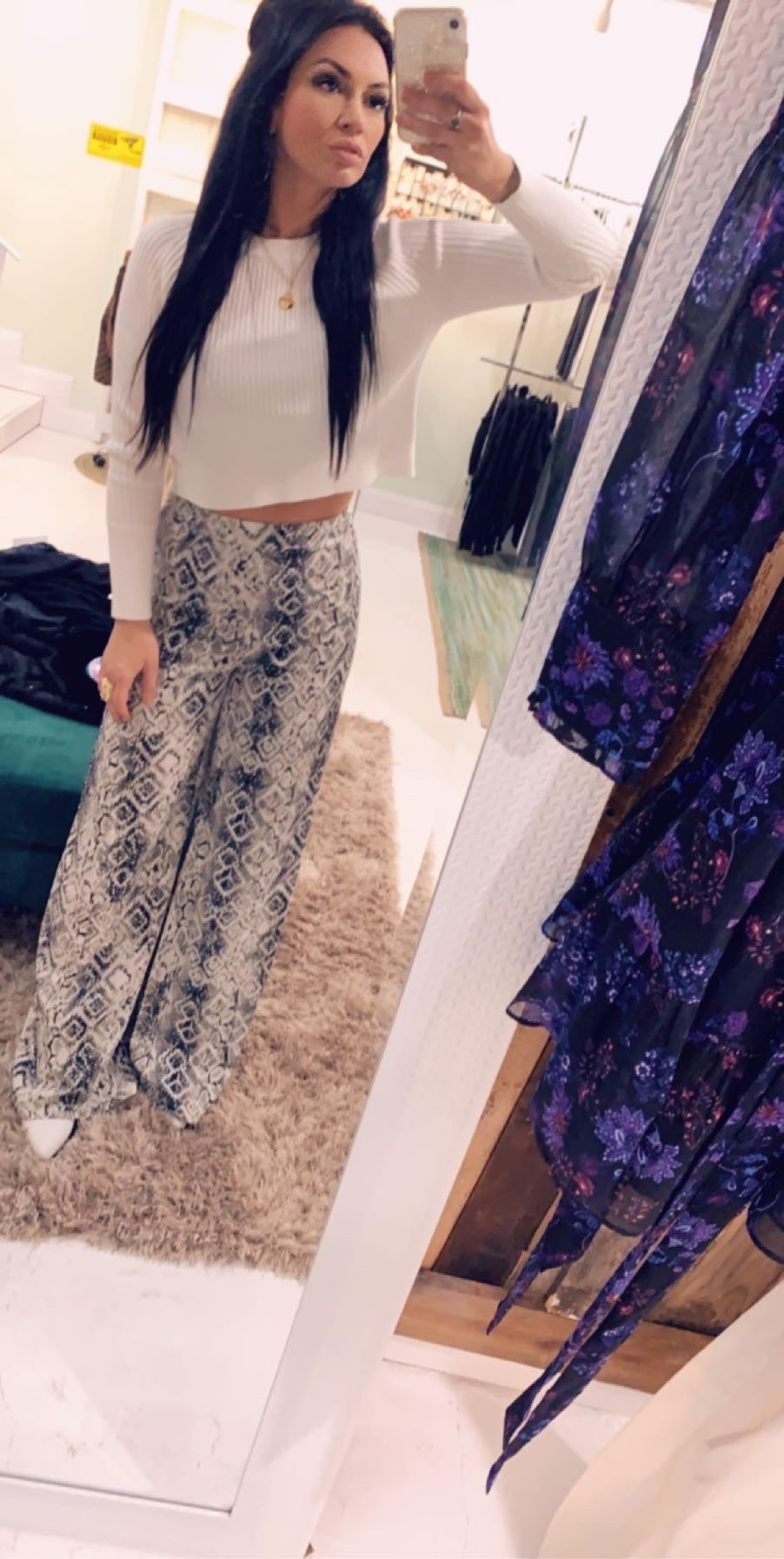 DB Mid-Rise Bell Bottom Snake Print Pants