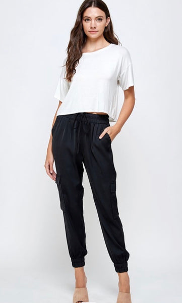 Black Cargo Satin Jogger Pants