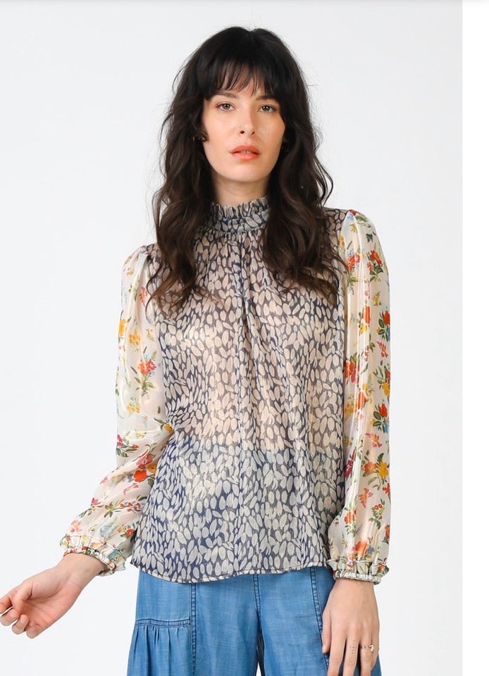 Floral & Abstract Print Mix Ruffled Round Neck Blouse (skirt available for purchase separately)