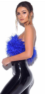 Blue Feather Strapless Cropped Top
