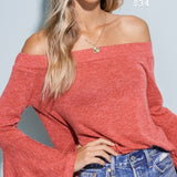 LA Red Sweater with Bell Sleeves
