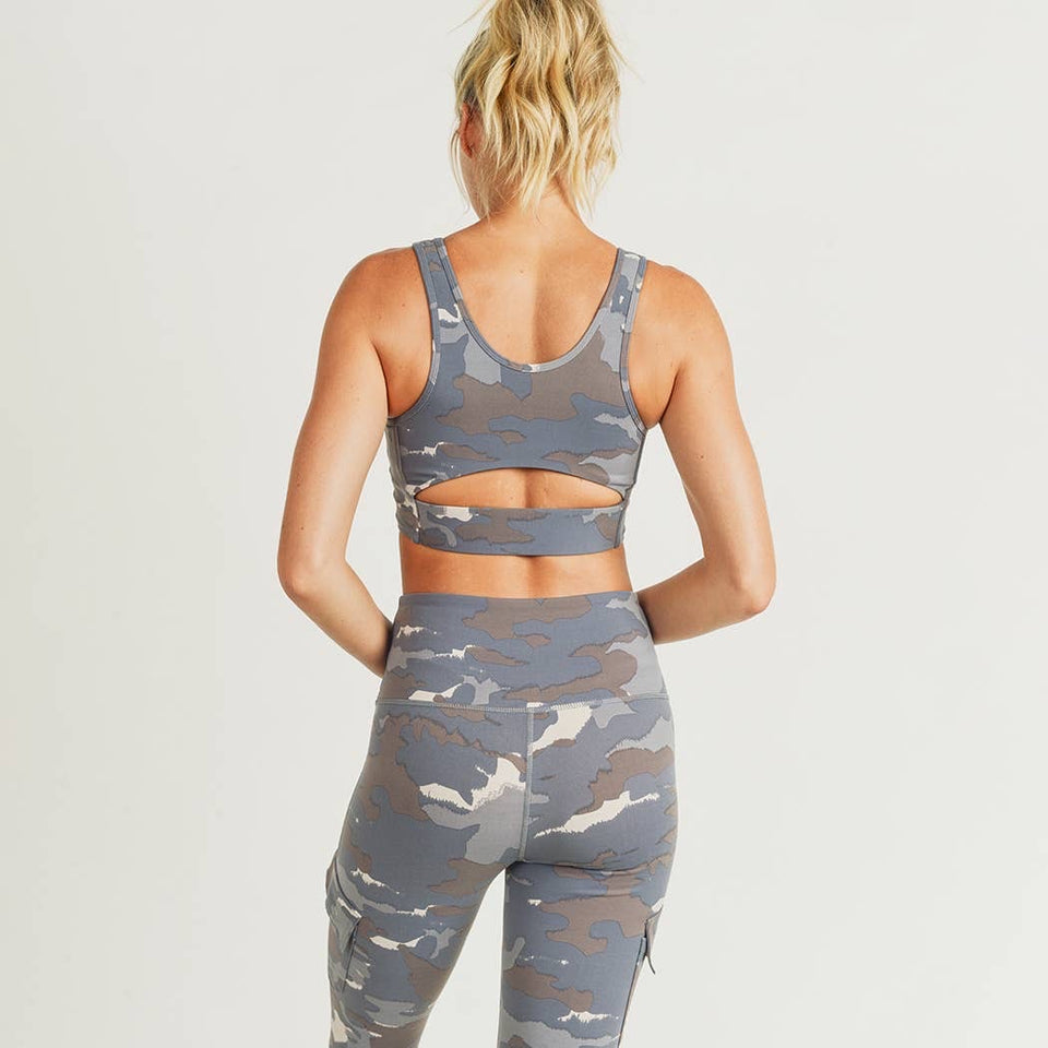 Blue Tundra Camo Cutout Back Sports Bra