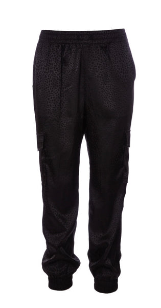 Shine Your Love Leopard Texture Satin Jogger Pant Black Sadie & Sage