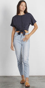 MR Navy with White pin stripe cropped shirt