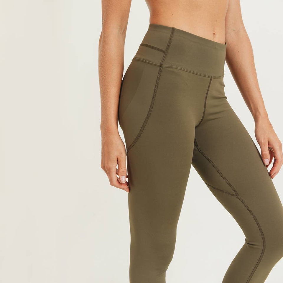 Mono B Red - Booty Po Highwaist Leggings Olive