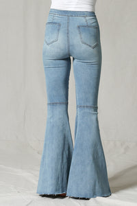 Blank Page Big Bell Bellbottom Vintage Style High Waist Jeans