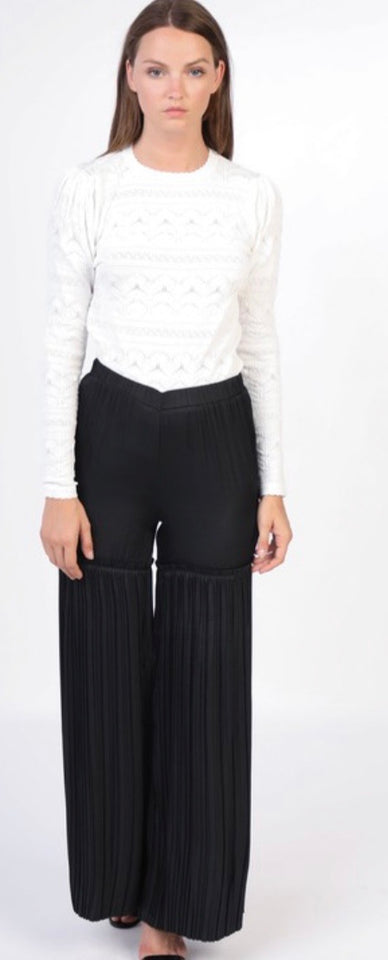 Black Pleated Bottom Wide Leg Pants