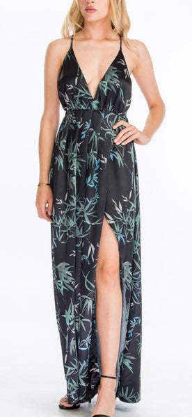 Black Satin Palm Maxi Dress by Olivacious