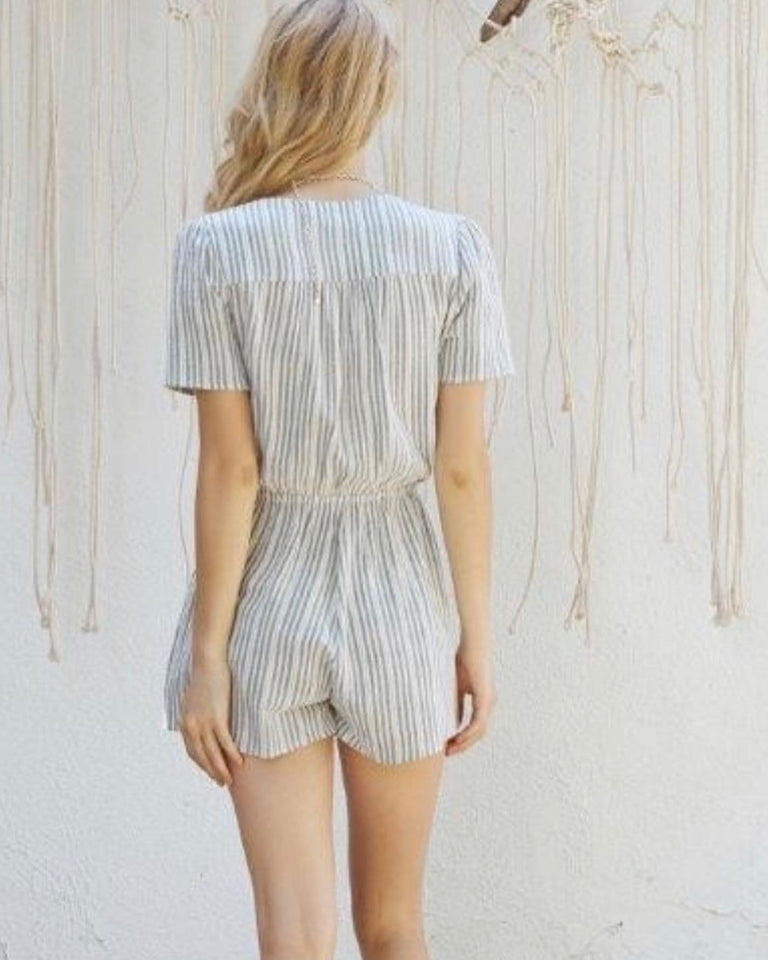 Gray and White Romper Shorts by Lost Wonder