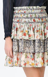 Floral & Abstract Print Mix Smocked Waist Tiered Short Skirt (blouse sold separately)