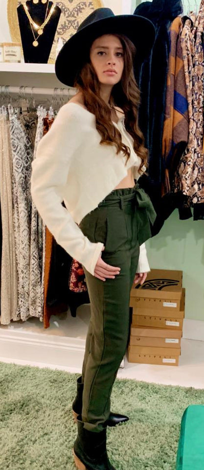 DB High Waisted Olive Pant with Belt