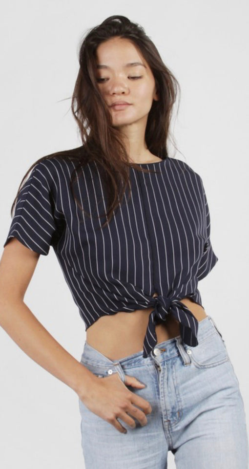 Navy Captain Cropped Tie Blouse