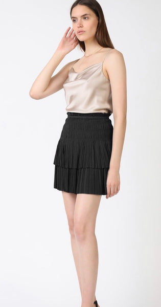 CA Pleated Tiered Mini Skirt