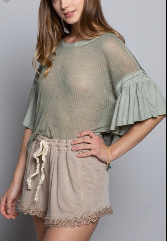 POL Desert Sage Knit Top