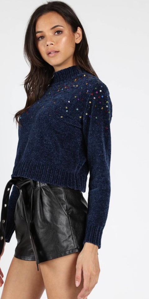 HP Navy Rainbow Sequin Chenille Sweater