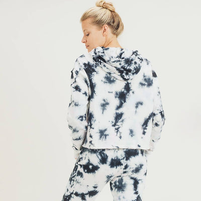 Tie-Dye Pullover with Drawstring Hoodie