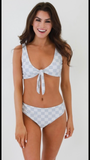 Bathing Suit Two- Piece Gray & White