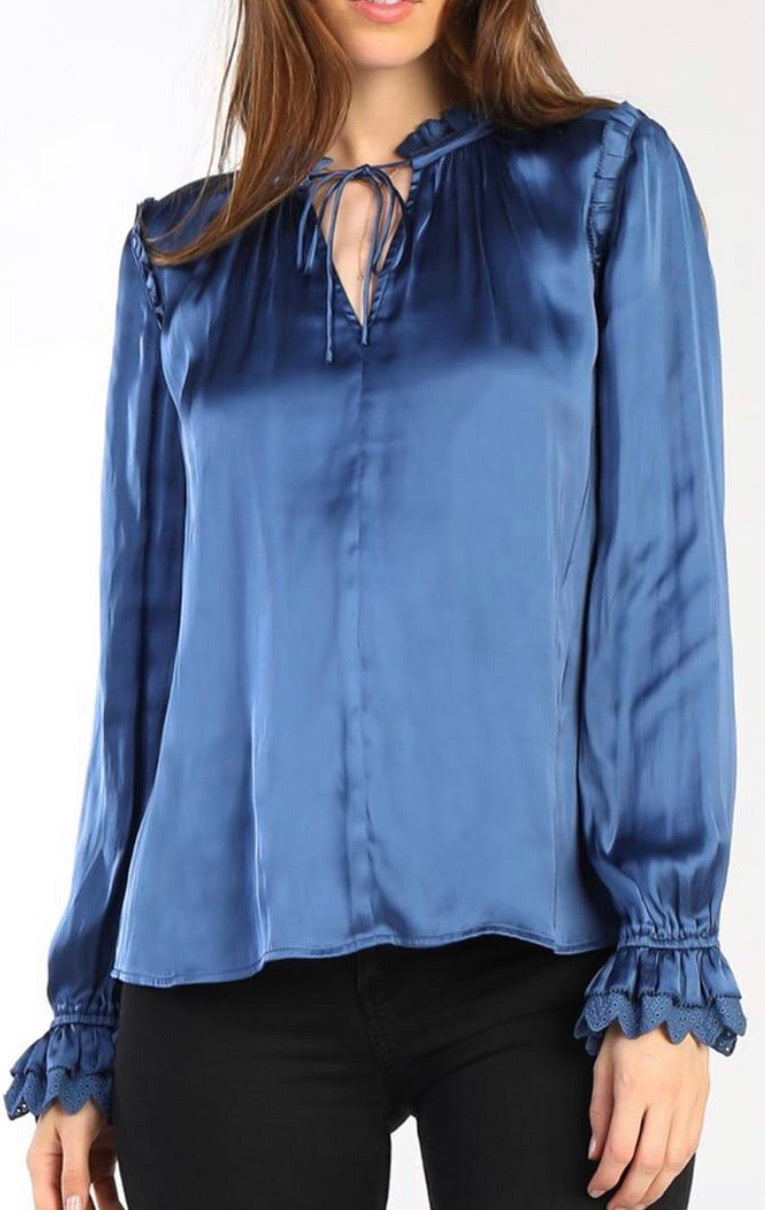 Cobalt Blue Ruffled Keyhole Neck Blouse with Ties