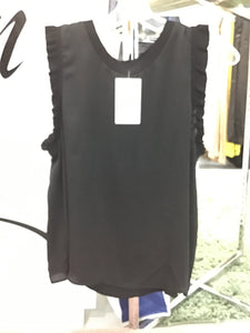 Black Sleeveless Top with Ruffles