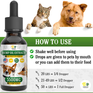 Hemp Oil for Dogs, Cats and All Pets, 5500 mg, 100% Organic Treat and Food Supplement Grown, Natural Support for Hips & Joints, Provides Anxiety Relief, Better Mood and Sleep