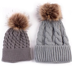 Mommy & Baby Gray Pom Pom Winter Hat Set