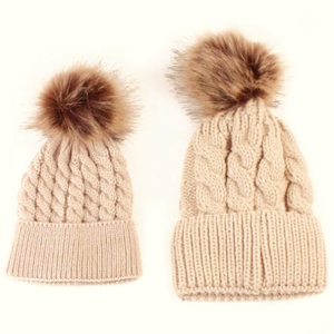 Mommy & Baby Tan Pom Pom Winter Hat Set