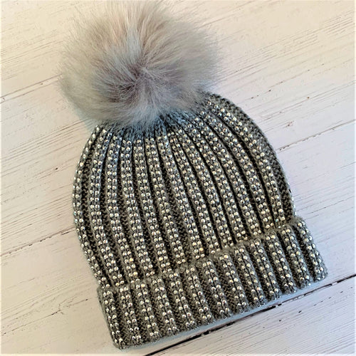 Girl Silver Studded Pom Pom Hat