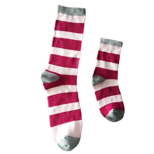 Mommy & Me Pink Stripe Matching Socks 1-2 Yrs