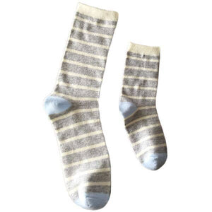 Mommy & Me Vanilla Latte Stripe Socks 2-4 Yrs