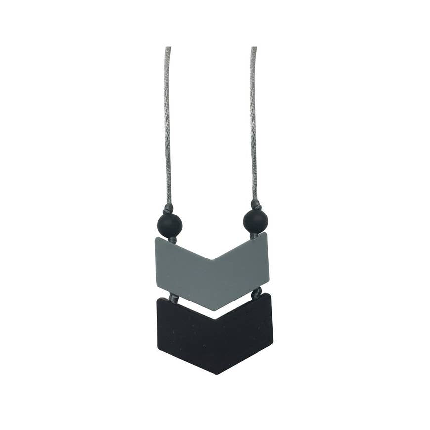 Black Gray Chevron Teething Necklace
