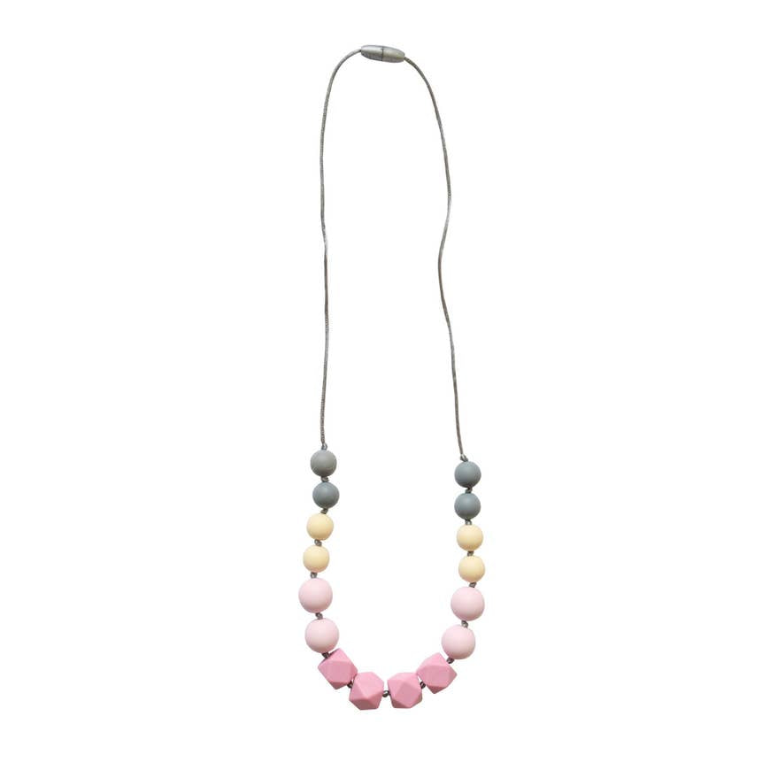 Pink Gray Teething Necklace