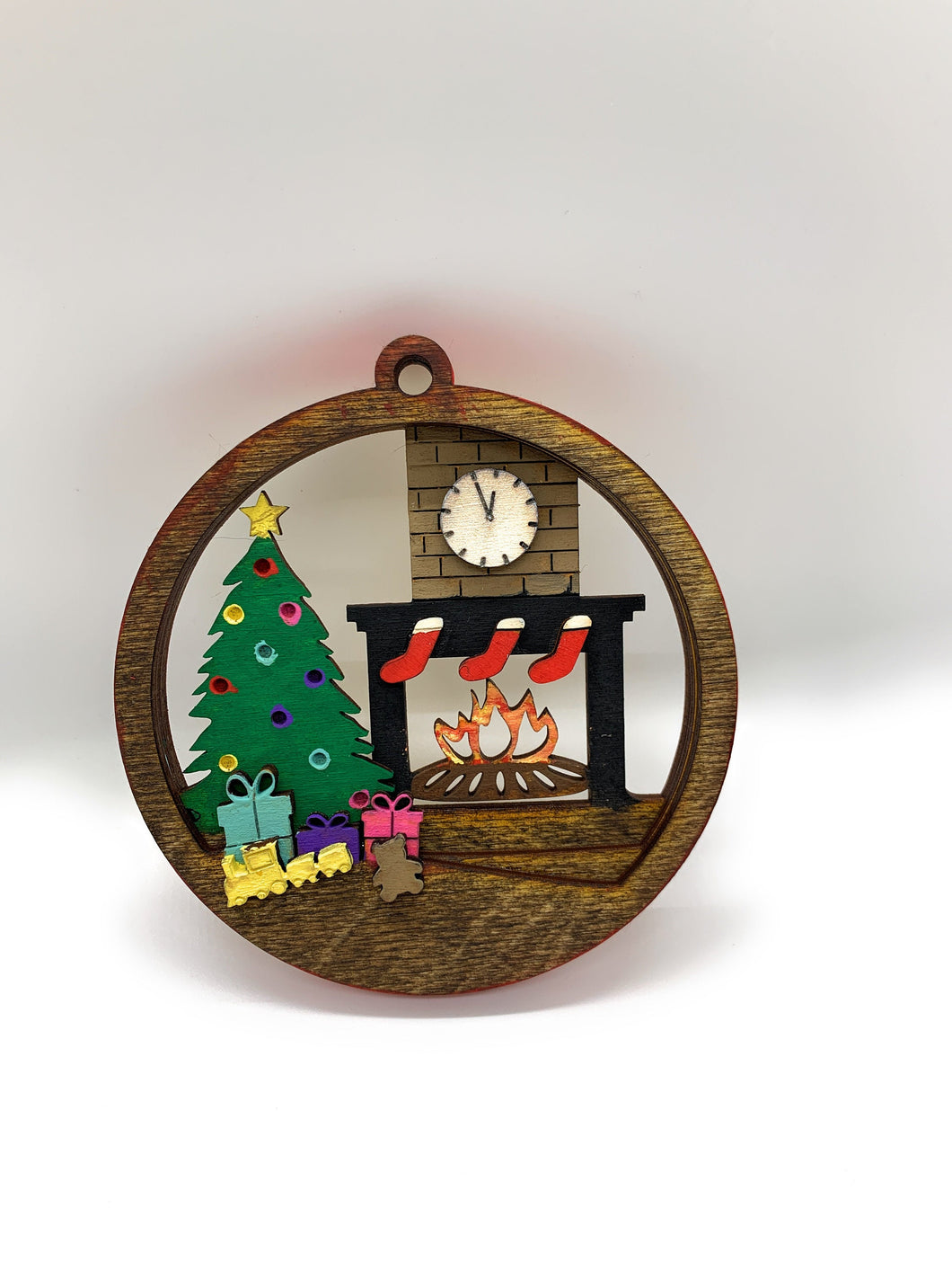 3D Christmas Ornament 3 Layers Custom Built & Painted Stained Red Border