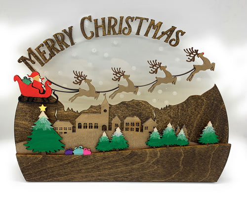 Holiday Christmas 3D 3 Layer Wood & Acrylic Stand Up Display